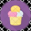 Sundae Ice Cream Scoops Waffle Icon