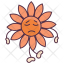 Sunflower Sad Expression Floral Character Icon