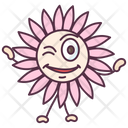 Sunflower Winky Expression Floral Character Icon