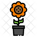 Sunflower Pot Sprout Icon