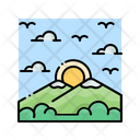 Sunrise Mountain Sun Icon