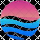 Sunset Logogram Shape Icon