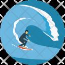 Surf Boarding Surfer Icon
