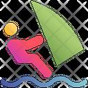 Surfer Surfing Watercraft Icon