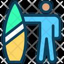 Surfer Surfing Surfboard Icon