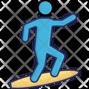Beach Male Surfboarding Icon