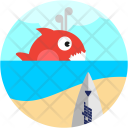 Surfing Fish Whale Icon