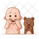 Surprise Child And Teddy Icon