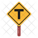 T Intersection T Road Traffic Board Icon