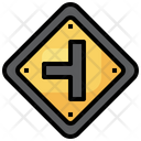 T Junction Regulation Road Signs Icon