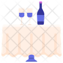 Table Wine On Table Champange Icon