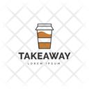 Takeaway Logo Hot Coffee Cafe Logomark Icon