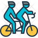 Tandem Bicycling Couple Icon