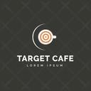 Target Cafe Hot Coffee Cafe Logomark Icon