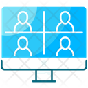 Team Meeting Group Call Video Conference Icon