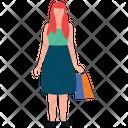 Teenager Shopping Girl Shopping Leisure Time Icon