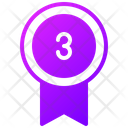 Third Place Ribbon Third Number Ribbon Winner Icon