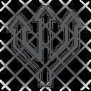 Three Way Direction Spread Intersection Arrows Icon