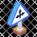 Sign Board Roadbord Three Way Direction Icon