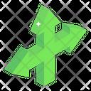 Three Way Direction Arrows Icon