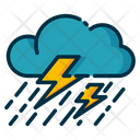 Thunderstorm Rain With Storm Rainy Weather Icon