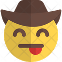 Tongue Smiling Eyes Cowboy Icon