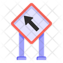 Top Left Direction Road Post Traffic Board Icon