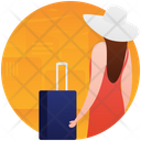Female Tourist Picnic Travel Gadgets Icon