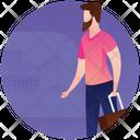 Male Tourist Picnic Travel Gadgets Icon
