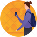 Girl Using Phone Tourist With Phone Smartphone User Icon
