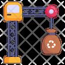 Crane Lifting Recycling Bag Tower Crane Icon
