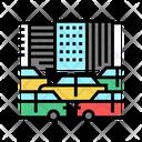 Traffic Jam In City Traffic City Icon