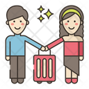Traveler Couple Honeymoon Couple Luggage Icon
