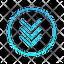 Triple Down Chevron Zigzag Top Right Arrow Arrows Icon