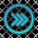 Triple Right Chevron Zigzag Top Right Arrow Arrows Icon