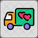 Valentine Day Truck Delivery Icon