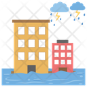 Tsunami And Thunderstorm Ocean Wave Natural Disaster Icon