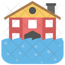 Tsunami Drowning House Ocean Wave Icon