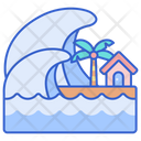 Tsunami Sea Wave Disaster Icon