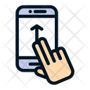 Two Finger Slide Swipe Up Action Icon