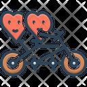 Two Happy Hearts Love Biking Icon