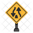 Two Way Road Road Post Traffic Board Icon
