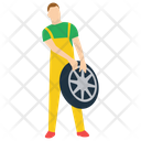 Tyre Changing Car Mechanic Auto Repairman Icon