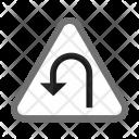 U Turn Turn Sign Icon