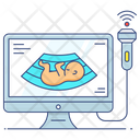 Monitor Ultrasound Sonography Icon