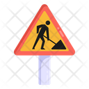 Labor Work Under Construction Road Post Icon