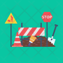 Road Work Stop Icon