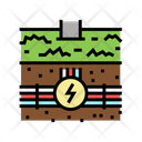 Underground Electric Cable Line Icon
