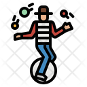 Unicycle Clown Fun Icon