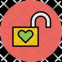 Unlock Heart Padlock Icon